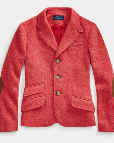 폴로 랄프로렌 걸즈 자켓 Polo Ralph Lauren Wool Twill Hacking Jacket,Red