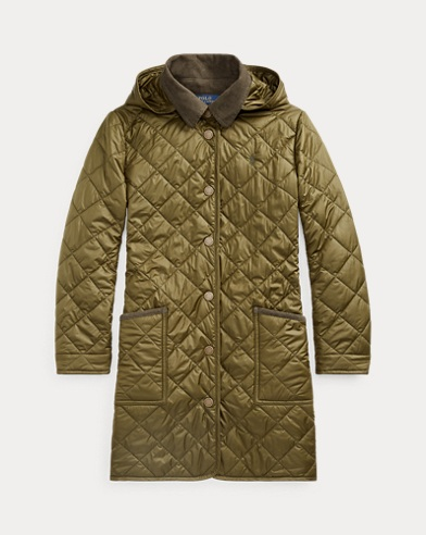 폴로 랄프로렌 걸즈 자켓  Polo Ralph Lauren Long Quilted Barn Jacket,Spanish Olive