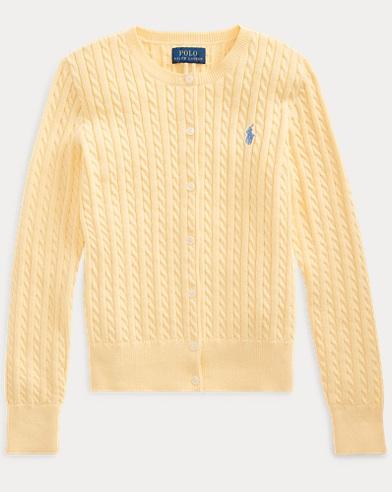 폴로 랄프로렌 걸즈 가디건 Polo Ralph Lauren Cable-Knit Cotton Cardigan,Buttercream