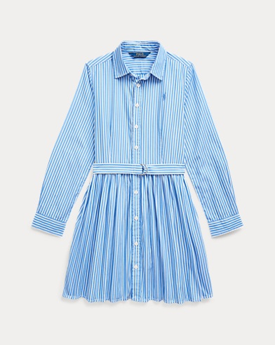 폴로 랄프로렌 걸즈 스트라이프 셔츠원피스 - 블루 Polo Ralph Lauren Striped Cotton Shirtdress, Blue/White, 496566