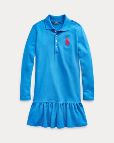 폴로 랄프로렌 걸즈 빅포니 폴로 원피스 Polo Ralph Lauren Big Pony Mesh Polo Dress,Colby Blue