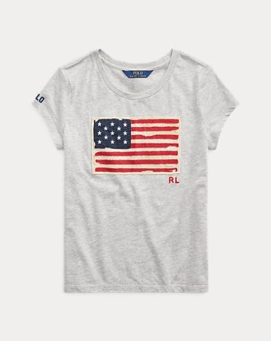 폴로 랄프로렌 걸즈 티셔츠 Polo Ralph Lauren Flag Cotton Jersey Tee,Lt Grey Heather