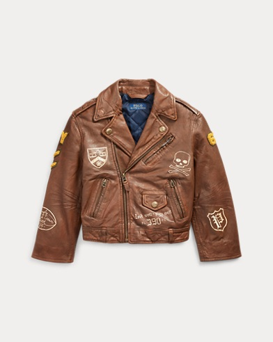 폴로 랄프로렌 보이즈 자켓 Polo Ralph Lauren Leather Graphic Moto Jacket,English Brown