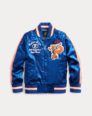 폴로 랄프로렌 Polo Ralph Lauren Satin Souvenir Baseball Jacket,Sistine Blue