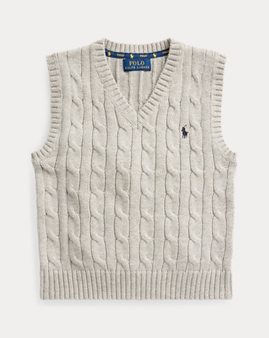 폴로 랄프로렌 남아용 스웨터 Polo Ralph Lauren Cable-Knit Cotton Sweater Vest,Dark Sport Heather