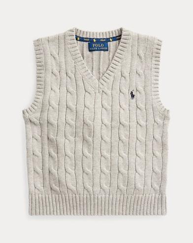 폴로 랄프로렌 Polo Ralph Lauren Cable-Knit Cotton Sweater Vest,Dark Sport Heather