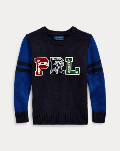 폴로 랄프로렌 남아용 스웨터 Polo Ralph Lauren PRL Cotton Letterman Sweater,RL Navy Multi