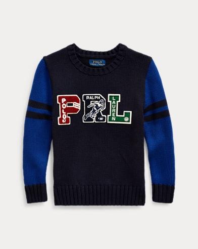 폴로 랄프로렌 Polo Ralph Lauren PRL Cotton Letterman Sweater,RL Navy Multi