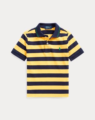 폴로 랄프로렌 남아용 폴로 셔츠 Polo Ralph Lauren Striped Cotton Mesh Polo Shirt,Gold Bugle Multi
