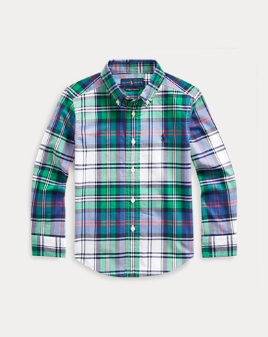 폴로 랄프로렌 Polo Ralph Lauren Plaid Cotton Poplin Shirt,Green/White Multi