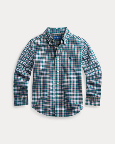 폴로 랄프로렌 Polo Ralph Lauren Plaid Cotton Poplin Shirt,Green/Navy Multi
