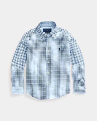 폴로 랄프로렌 Polo Ralph Lauren Plaid Cotton Poplin Shirt,White/Navy