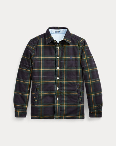 폴로 랄프로렌 보이즈 자켓 Polo Ralph Lauren Reversible Oxford Shirt Jacket, Hunter Green Multi