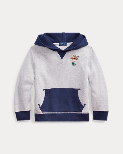 폴로 랄프로렌 Polo Ralph Lauren Rugby Bear Cotton Hoodie,Lt Grey Heather