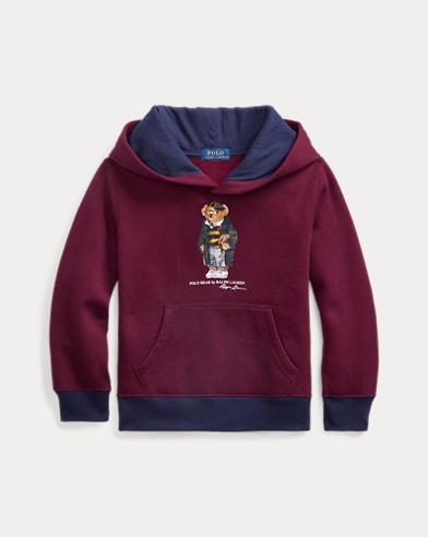 폴로 랄프로렌 남아용 후드 티셔츠 Polo Ralph Lauren Football Bear Fleece Hoodie,Classic Wine
