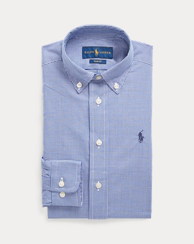 폴로 랄프로렌 Polo Ralph Lauren Slim Fit Cotton Dress Shirt,Navy Multi