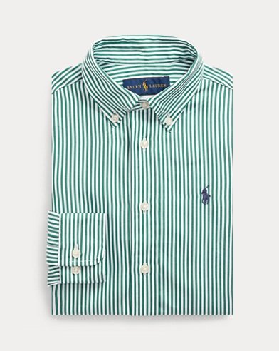 폴로 랄프로렌 Polo Ralph Lauren Slim Fit Cotton Dress Shirt,Green Multi