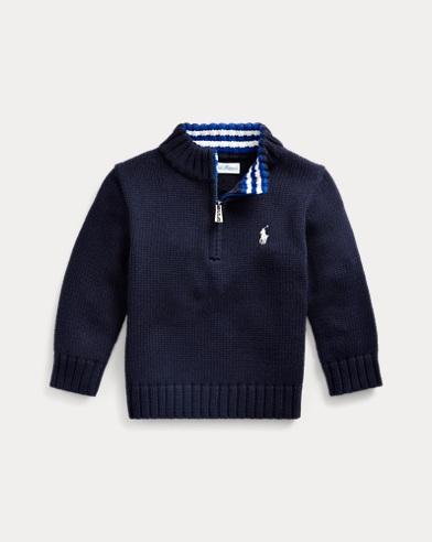 폴로 랄프로렌 베이비 보이 코튼 하프짚 스웨터 - 네이비 Polo Ralph Lauren Cotton Half-Zip Sweater
