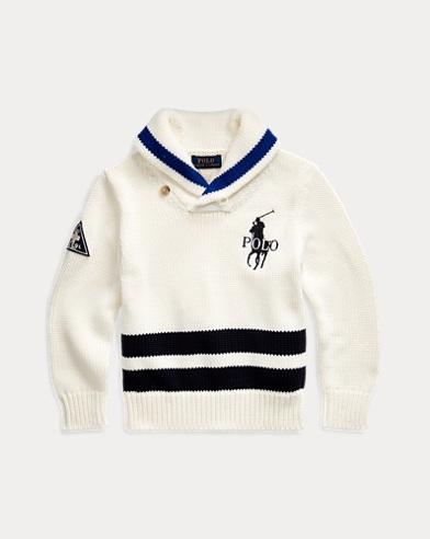 폴로 랄프로렌 남아용 스웨터 Polo Ralph Lauren Big Pony Cotton Shawl Sweater,Clubhouse Cream