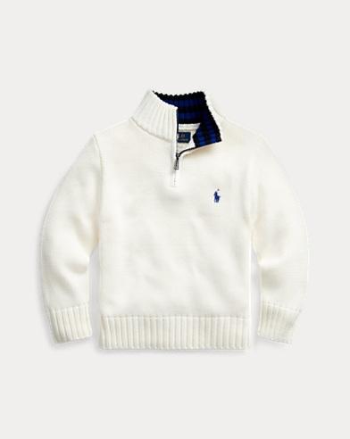 폴로 랄프로렌 남아용 하프 집업 스웨터 Polo Ralph Lauren Cotton Half-Zip Sweater,Clubhouse Cream