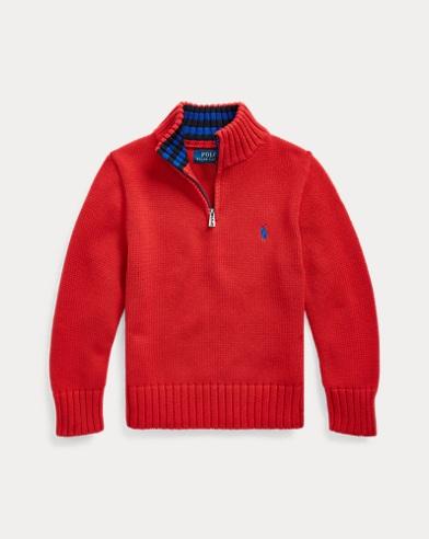폴로 랄프로렌 남아용 스웨터 Polo Ralph Lauren Cotton Half-Zip Sweater,RL 2000 Red