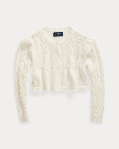 폴로 랄프로렌 여아용 가디건 Polo Ralph Lauren Cable Cotton-Blend Cardigan,Nevis