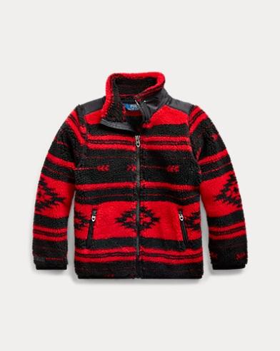 폴로 랄프로렌 여아용 자켓 Polo Ralph Lauren Geometric-Print Fleece Jacket,Polo Black/ Rl 2000 Red