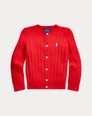 폴로 랄프로렌 여아용 가디건 Polo Ralph Lauren Cable-Knit Cotton Cardigan,RL 2000 Red