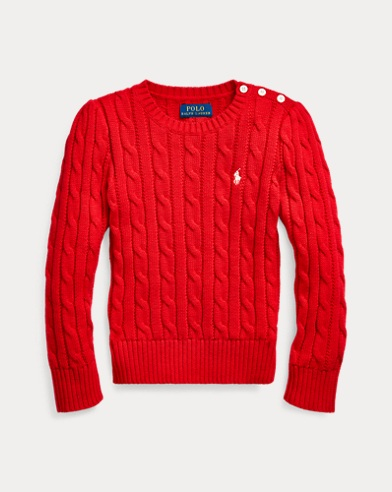 폴로 랄프로렌 여아용 스웨터 Polo Ralph Lauren Cable-Knit Cotton Sweater,RL 2000 Red