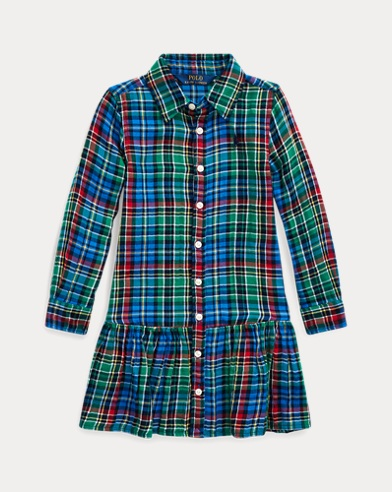 폴로 랄프로렌 여아용 셔츠원피스 Polo Ralph Lauren Plaid Cotton Shirtdress,Blue/Green Multi