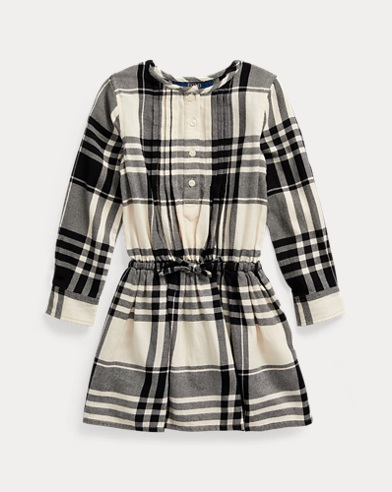 폴로 랄프로렌 여아용 셔츠원피스 Polo Ralph Lauren Plaid Cotton Poplin Shirtdress,Cream/Black