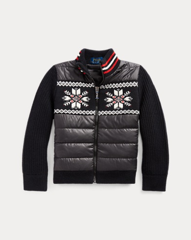 폴로 랄프로렌 여아용 스웨터 Polo Ralph Lauren Wool-Blend Hybrid Sweater,Polo Black Multi