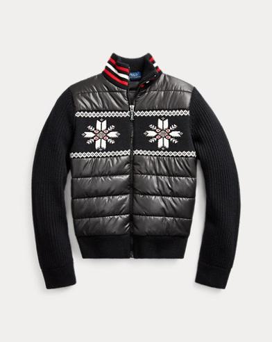 폴로 랄프로렌 걸즈 하이브리드 스웨터 Polo Ralph Lauren Wool-Blend Hybrid Sweater,Polo Black Multi