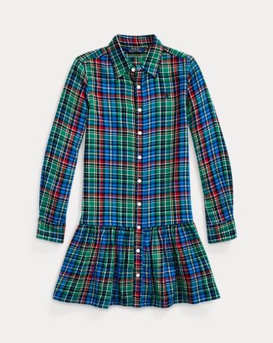 폴로 랄프로렌 걸즈 체크 셔츠원피스 - 블루 그린 Polo Ralph Lauren Plaid Cotton Shirtdress