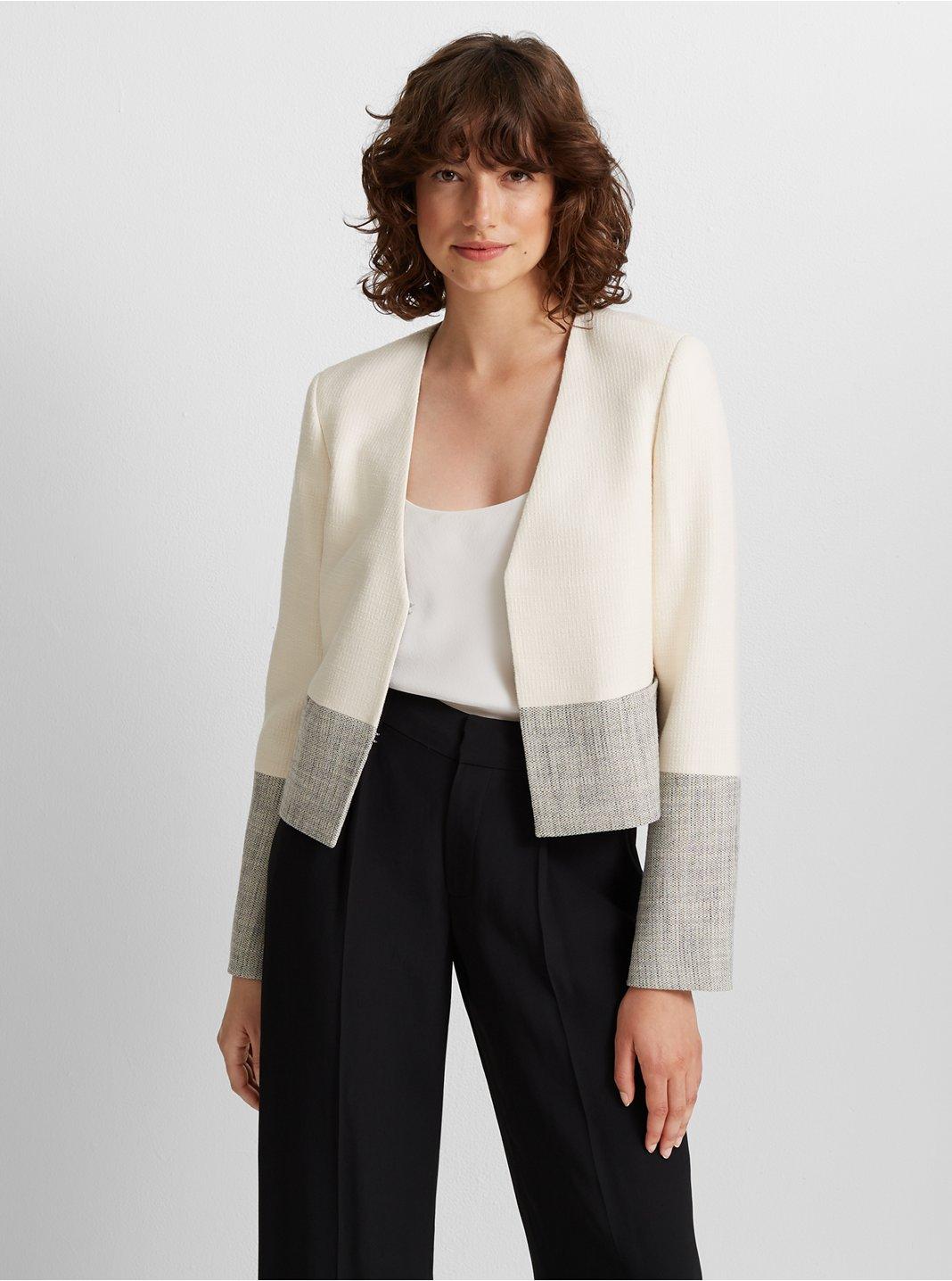 클럽 모나코 Club Monaco Textured Jacket,Cream Multi
