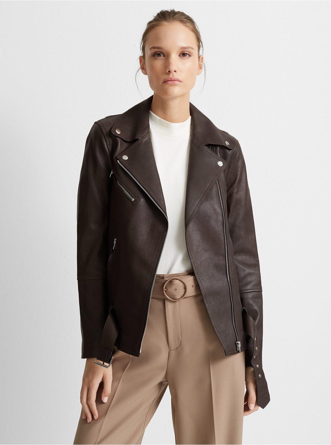 클럽 모나코 Club Monaco Long Leather Jacket,Brown
