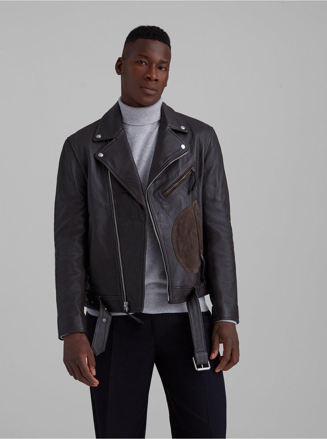 클럽 모나코 맨 가죽 자켓 Club Monaco Leather Biker Jacket,Brown