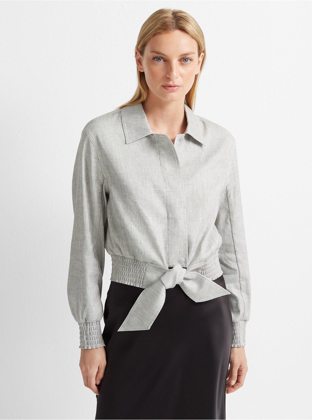 클럽 모나코 Club Monaco Tie Waist Jacket,White Multi