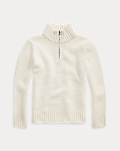 폴로 랄프로렌 보이즈 캐시미어 하프집업 스웨터 Polo Ralph Lauren Cashmere Half-Zip Sweater,Warm White