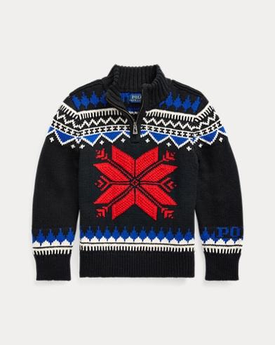 폴로 랄프로렌 남아용 스웨터 Polo Ralph Lauren Snowflake Cotton-Blend Sweater,Polo Black Multi