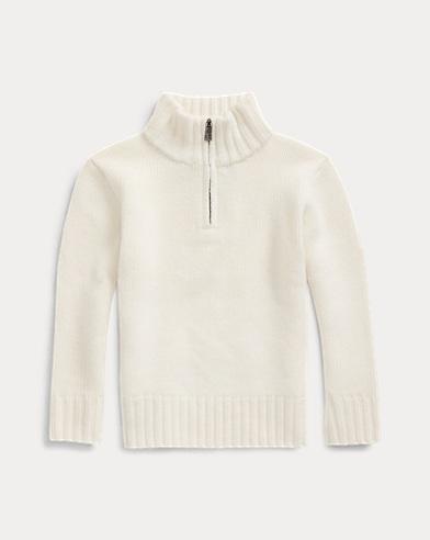 폴로 랄프로렌 남아용 스웨터 Polo Ralph Lauren Cashmere Half-Zip Sweater,Warm White