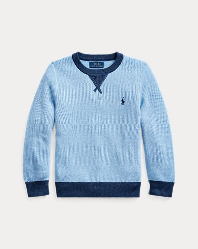 폴로 랄프로렌 남아용 스웨터 Polo Ralph Lauren Textured Cotton Sweater,Chambray Heather