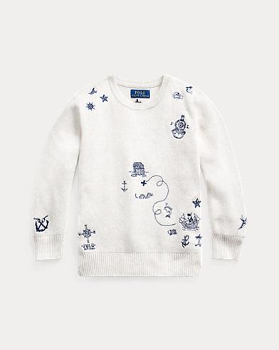 폴로 랄프로렌 남아용 스웨터 Polo Ralph Lauren Embroidered Cotton Sweater,New Sand Heather