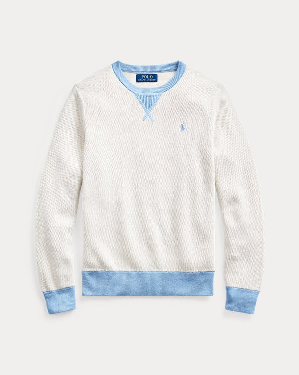 폴로 랄프로렌 보이즈 스웨터 Polo Ralph Lauren Textured Cotton Sweater,New Sand Heather