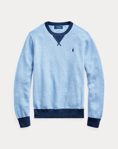 폴로 랄프로렌 보이즈 코튼 스웨터 Polo Ralph Lauren Textured Cotton Sweater,Chambray Heather