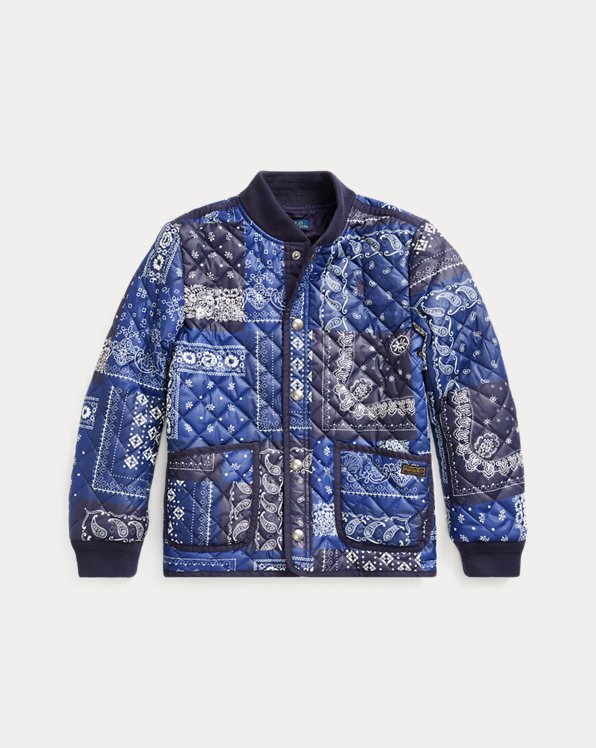 폴로 랄프로렌 걸즈 자켓 Polo Ralph Lauren Bandanna-Print Baseball Jacket,Indigo Cream