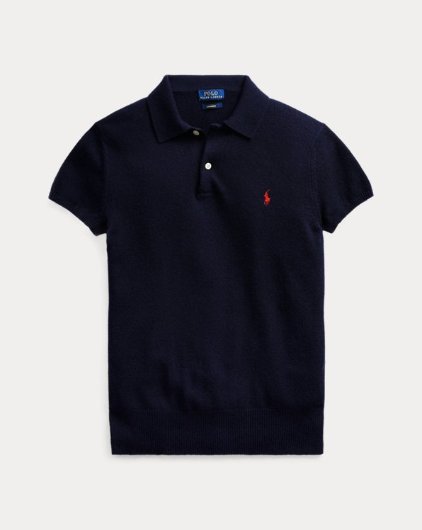 폴로 랄프로렌 우먼 캐시미어 폴로 셔츠 Polo Ralph Lauren Ribbed-Hem Cashmere Polo Shirt, Hunter Navy