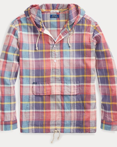 폴로 랄프로렌 Polo Ralph Lauren Madras Hooded Popover Shirt,Pink Multi