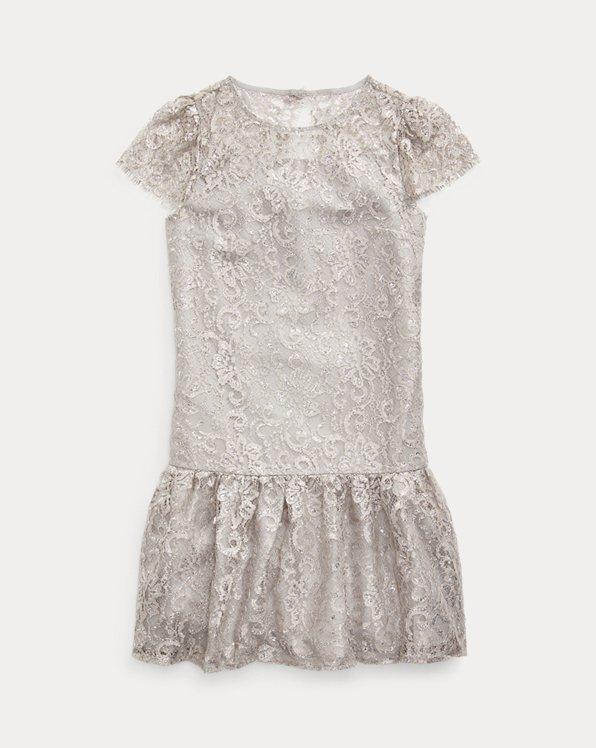 폴로 랄프로렌 걸즈 원피스 Polo Ralph Lauren Metallic Lace Drop-Waist Dress,Platinum