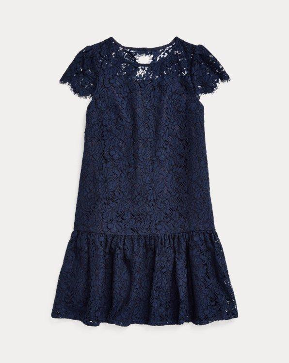 폴로 랄프로렌 걸즈 원피스 Polo Ralph Lauren Lace Drop-Waist Dress,French Navy